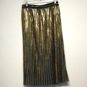 Shiny Gold Pleat Midi Skirt